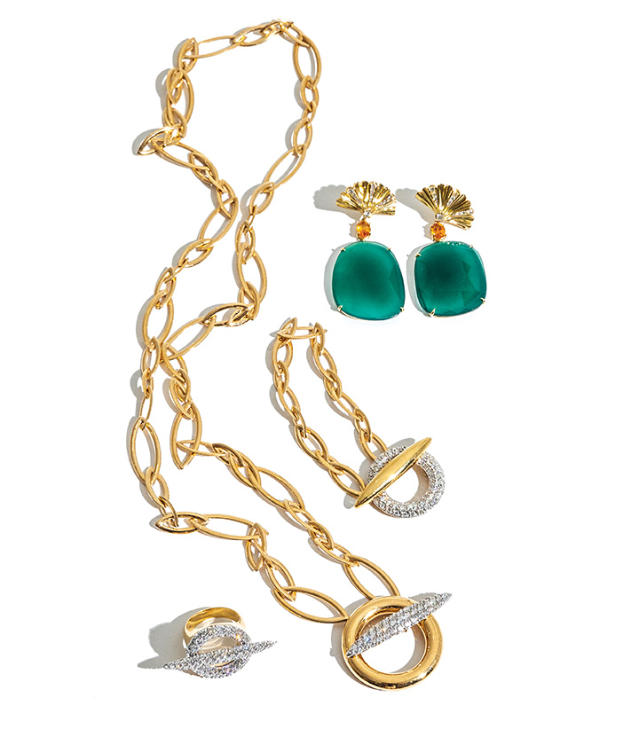 — FRASCA JEWELERS Earrings by Frasca Jewelers, 18kt YG Diamond 0.79ctw, Citrine and Green Onyx.